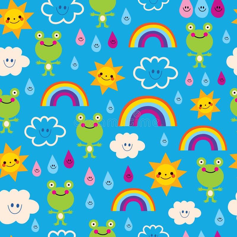 逗人喜爱的青蛙下雨下落彩虹云彩无缝的样式 向量例证