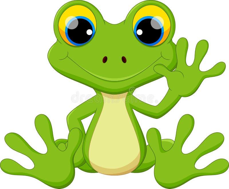 逗人喜爱的青蛙动画片开会 库存例证