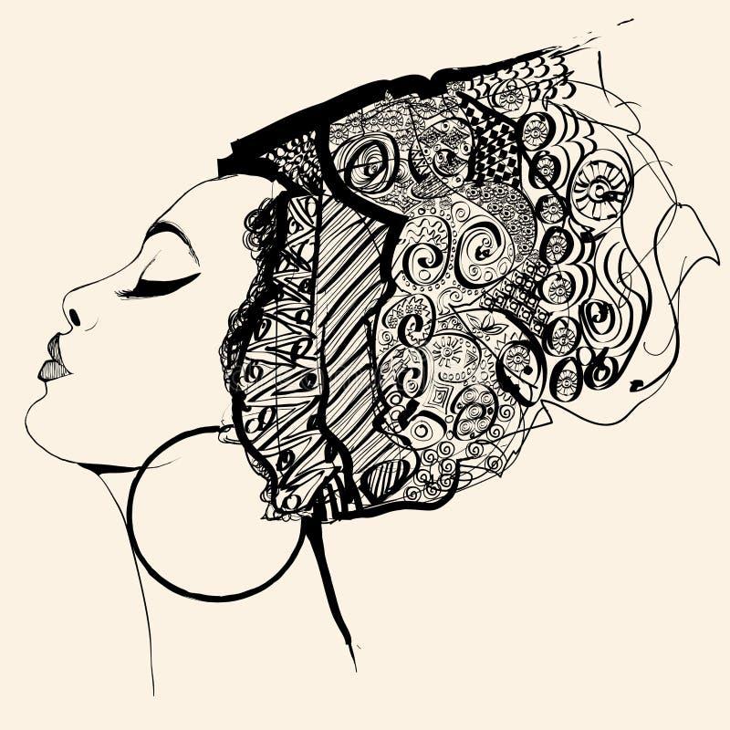逗人喜爱的非洲妇女画象有帽子外形的 库存例证