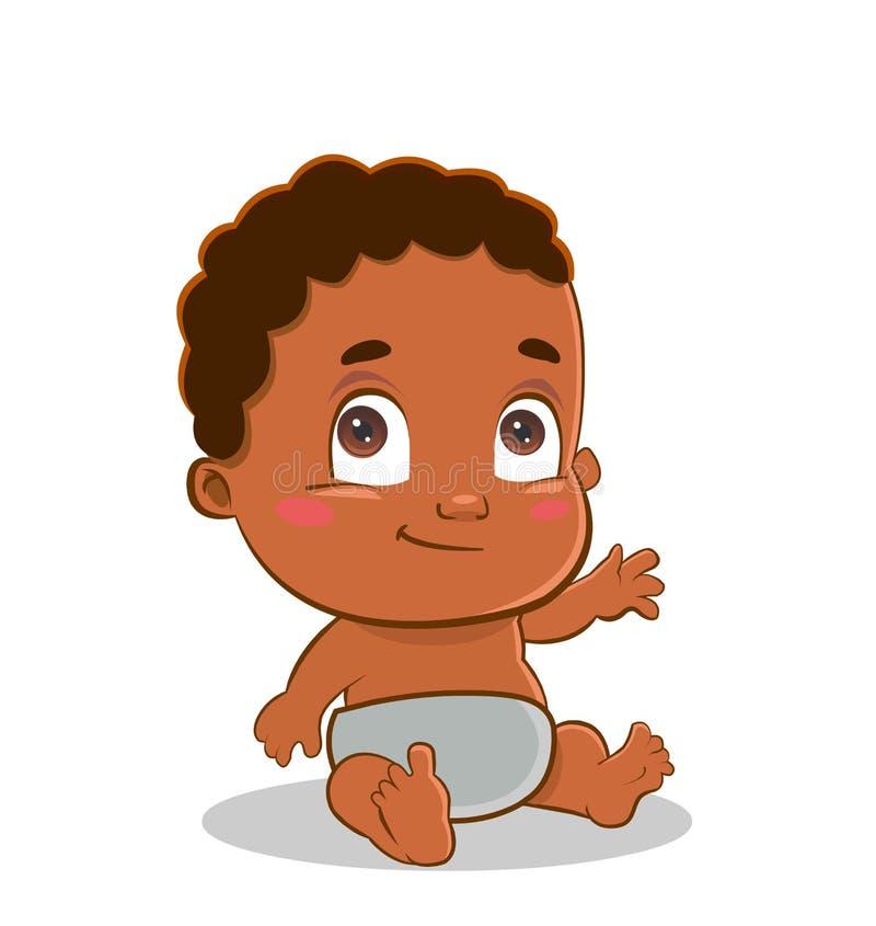 逗人喜爱的非裔美国人的婴孩开会 免版税库存照片