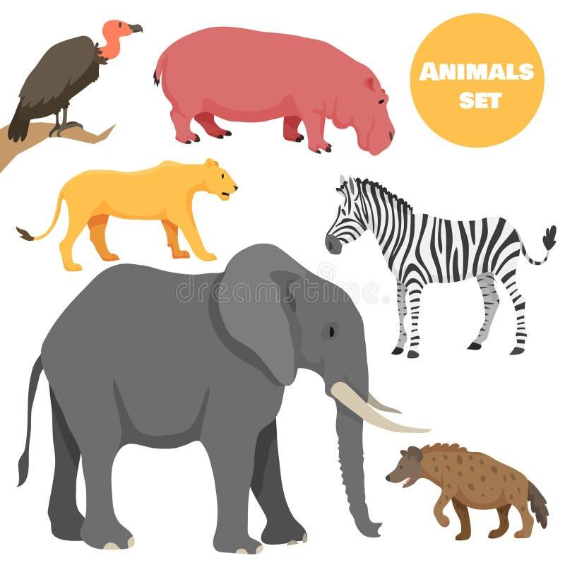 逗人喜爱的非洲动物为在动画片样式的孩子设置了 皇族释放例证