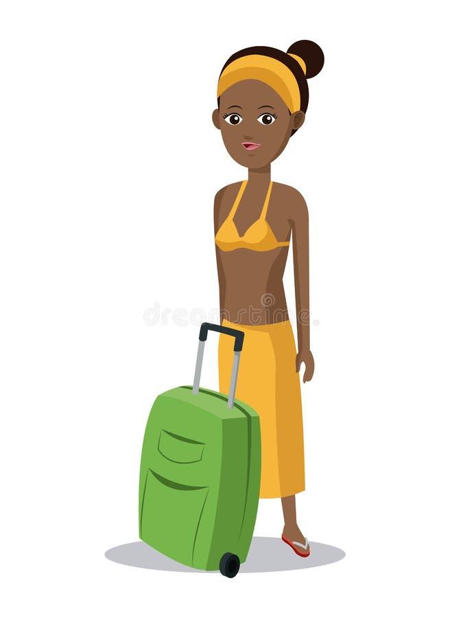 逗人喜爱的非洲的女孩手提箱衣裳 皇族释放例证