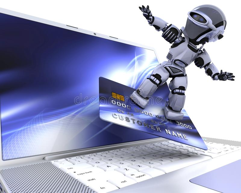 逗人喜爱的靠机械装置维持生命的人机器人 库存例证