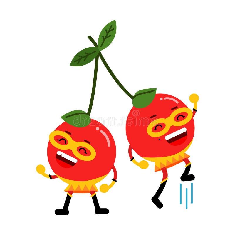 逗人喜爱的面具的,五颜六色的被赋予人性的莓果字符例证动画片微笑的樱桃超级英雄 皇族释放例证
