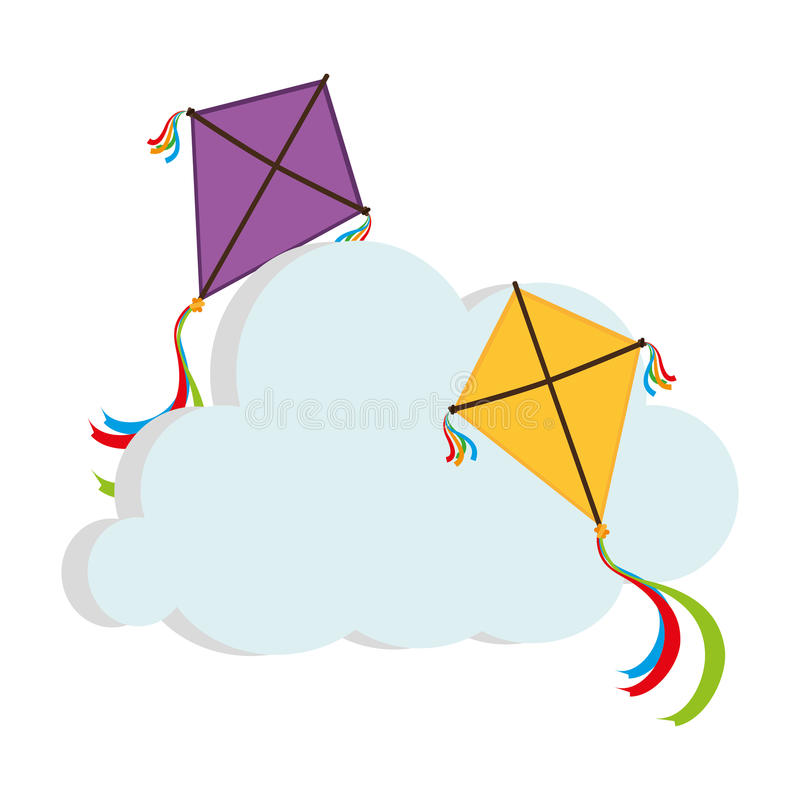 逗人喜爱的风筝飞行象 皇族释放例证
