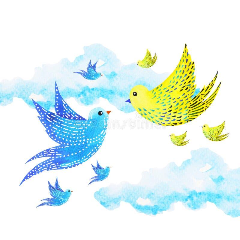 逗人喜爱的飞行在天空,水彩绘画的夫妇恋人自由鸟 库存例证