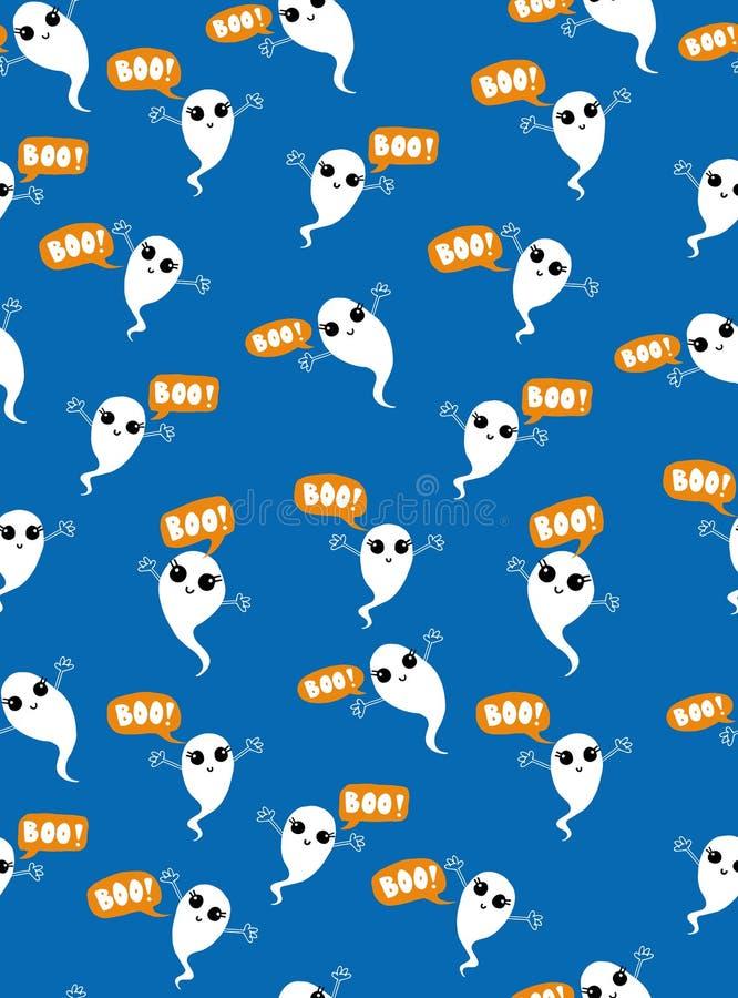逗人喜爱的飞行鬼魂传染媒介样式 在蓝色背景的白色Adobrable鬼魂 皇族释放例证