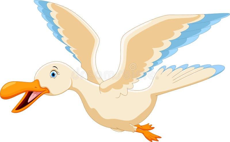 逗人喜爱的飞行鸭子动画片 皇族释放例证