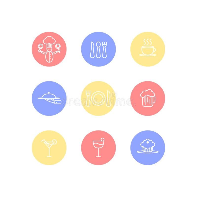 逗人喜爱的食物和餐馆传染媒介象在五颜六色的圈子,白色背景,传染媒介设置了 免版税图库摄影