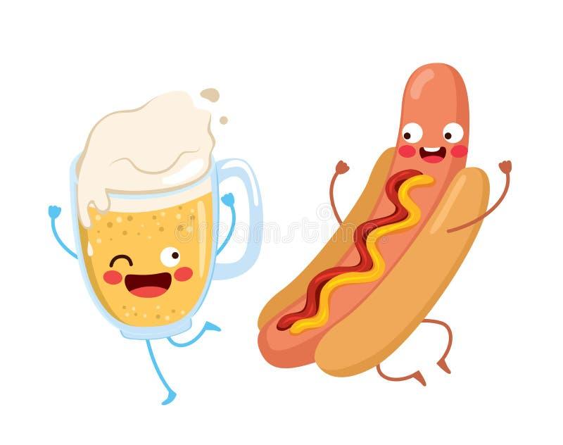 逗人喜爱的食物啤酒热狗 向量例证
