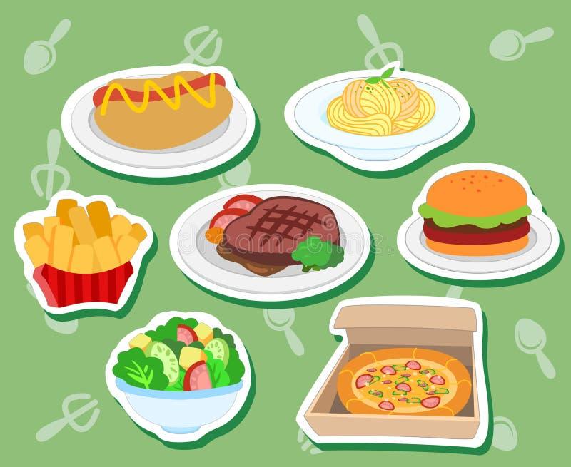 逗人喜爱的食物stickers01 皇族释放例证