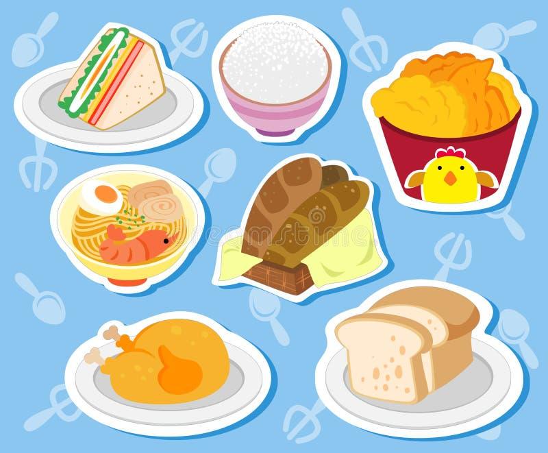 逗人喜爱的食物stickers02 向量例证