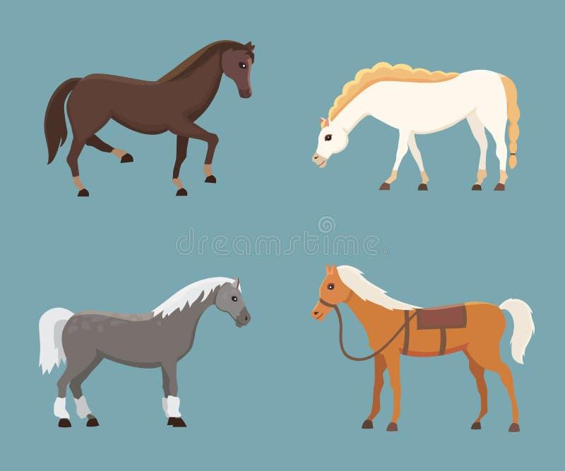 逗人喜爱的马在各种各样的姿势传染媒介设计 动画片农厂野生被隔绝的马和平的小马另外剪影  皇族释放例证