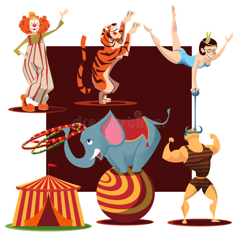 逗人喜爱的马戏团动物收藏 免版税库存照片