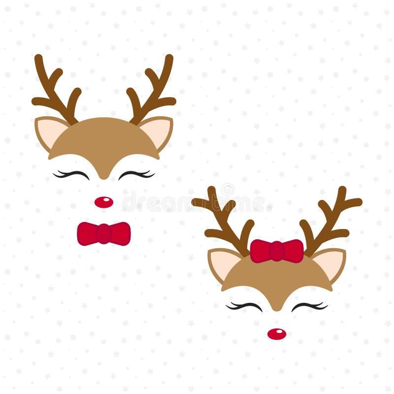 逗人喜爱的驯鹿 小鹿 圣诞快乐漫画人物 有蝶形领结的有红色弓的男孩和女孩 向量例证