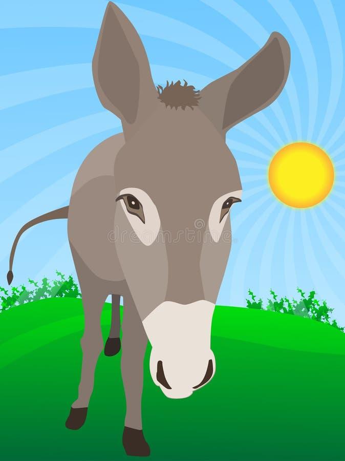 逗人喜爱的驴农场 库存例证