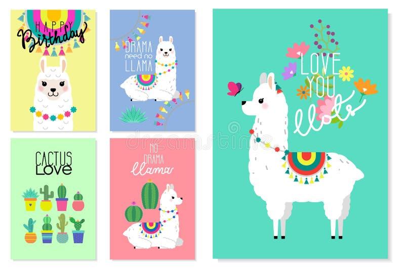 逗人喜爱的骆马、羊魄和仙人掌例证 库存例证