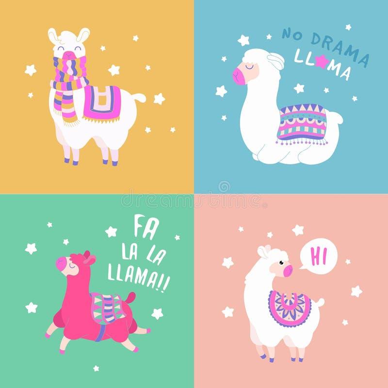 逗人喜爱的骆马和羊魄卡片 滑稽的套喇嘛行情 动画片喇嘛字符传染媒介例证 皇族释放例证