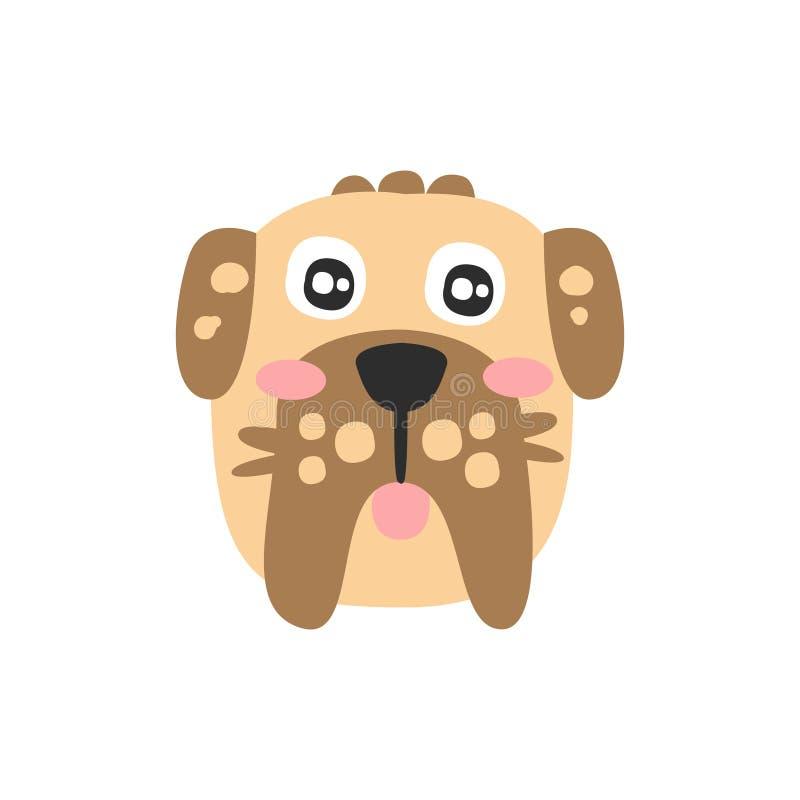 逗人喜爱的髯狗狗头,滑稽的动画片动物字符,可爱的国内宠物传染媒介例证 库存例证