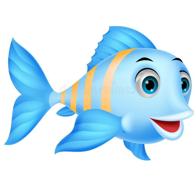 逗人喜爱的鱼动画片 皇族释放例证