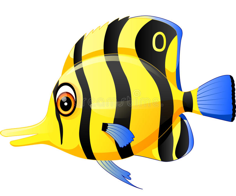 逗人喜爱的鱼动画片 库存例证