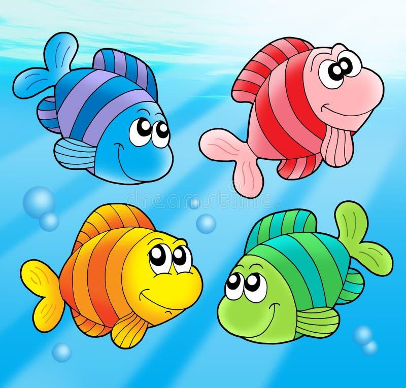 逗人喜爱的鱼四 向量例证