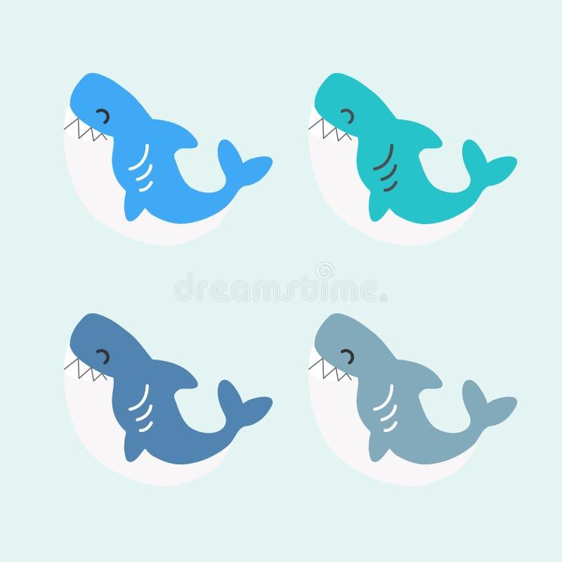 逗人喜爱的鲨鱼可笑的动画片 向量例证