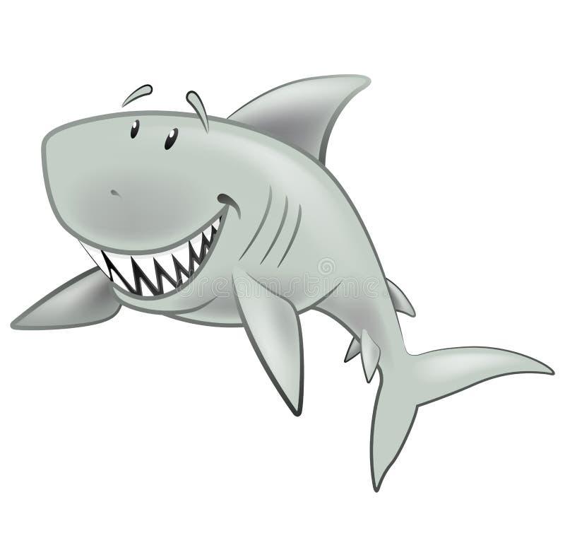 逗人喜爱的鲨鱼字符 库存例证