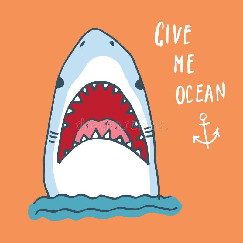 逗人喜爱的鲨鱼手拉的剪影, T恤杉印刷品设计传染媒介例证 库存例证