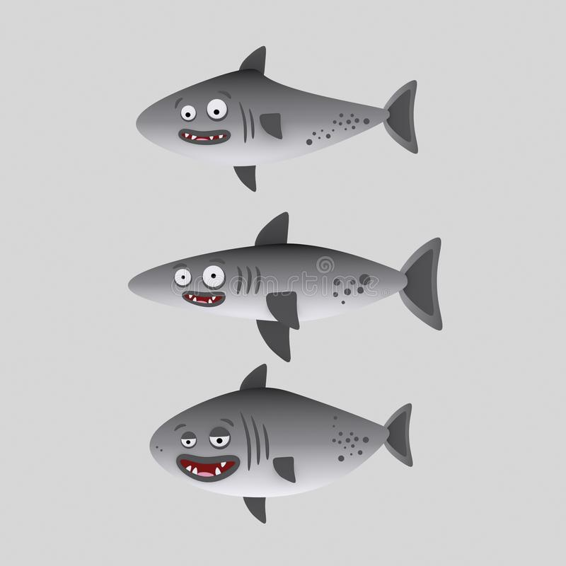 逗人喜爱的鲨鱼 3d例证 皇族释放例证