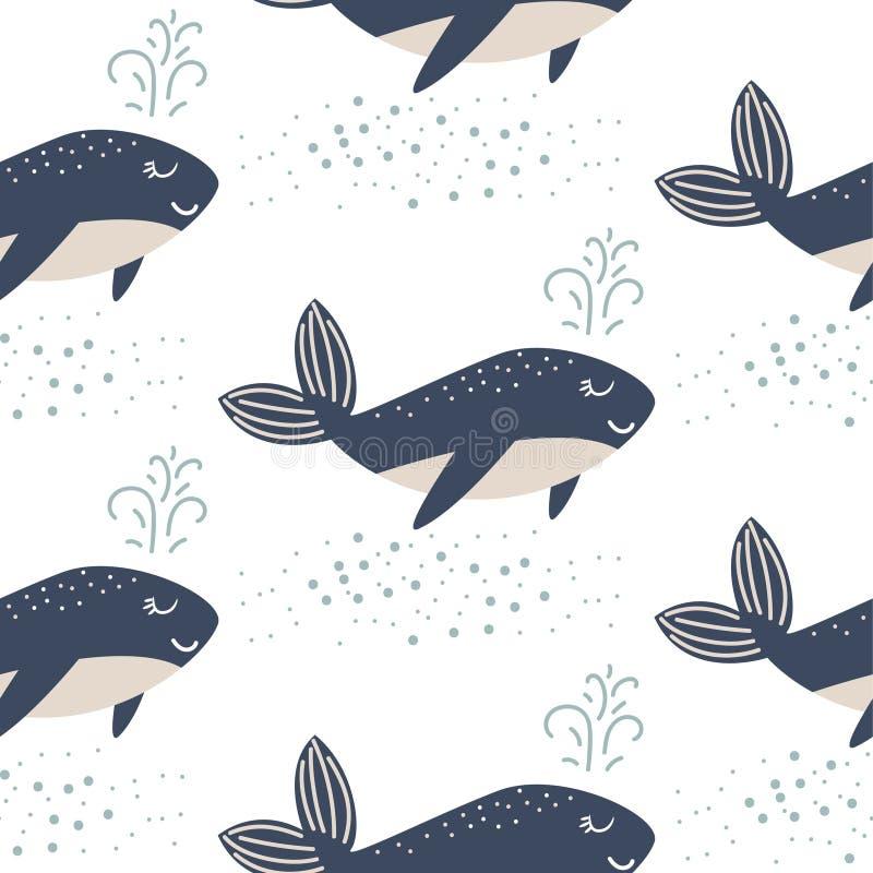 逗人喜爱的鲸鱼无缝的传染媒介样式 动画片样式蓝色乐趣鱼背景 向量例证