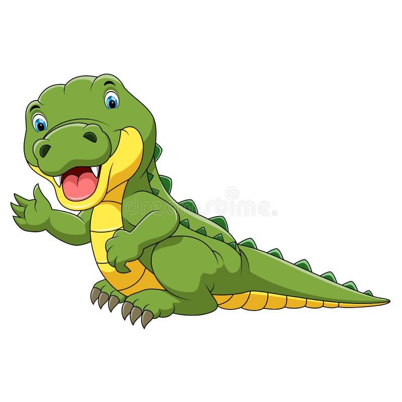 逗人喜爱的鳄鱼动画片 皇族释放例证
