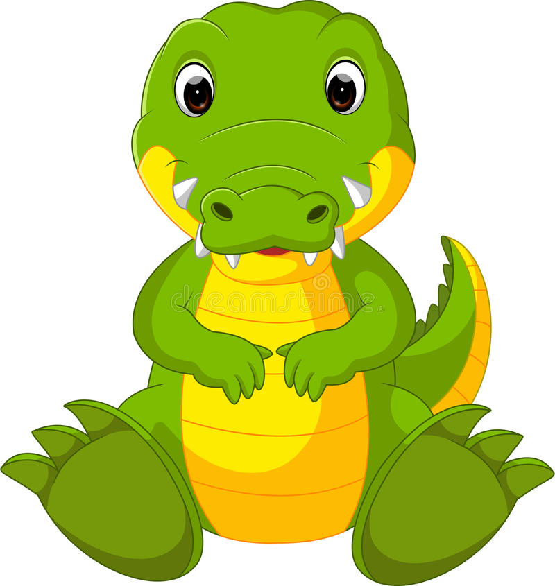 逗人喜爱的鳄鱼动画片 库存例证
