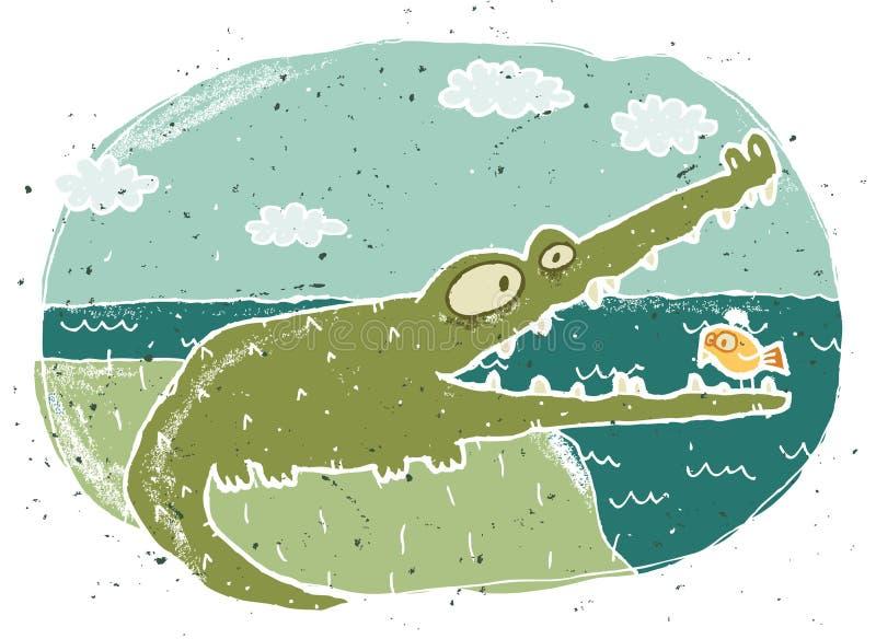 逗人喜爱的鳄鱼的手拉的难看的东西例证在背景的 库存例证