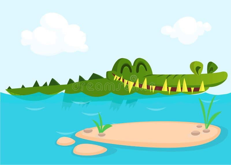 逗人喜爱的鳄鱼蜥蜴动画片游泳 传染媒介儿童图书的字符例证 库存例证