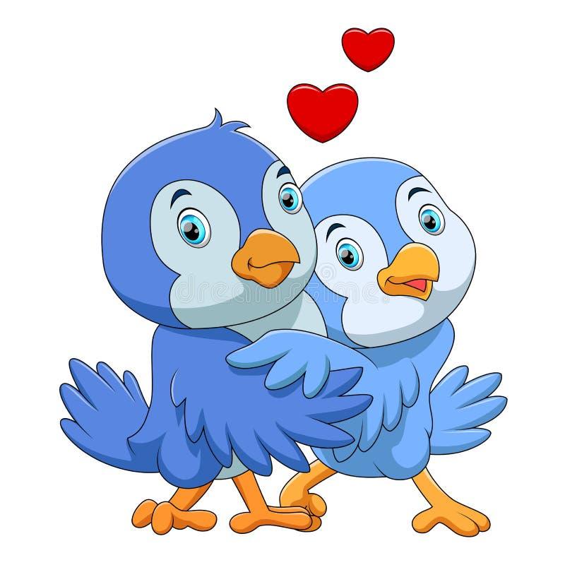 逗人喜爱的鸟夫妇动画片 库存例证