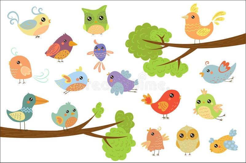 逗人喜爱的鸟字符集合,飞行逗人喜爱的五颜六色的动画片的鸟,唱歌,坐在a的分支传染媒介例证 向量例证