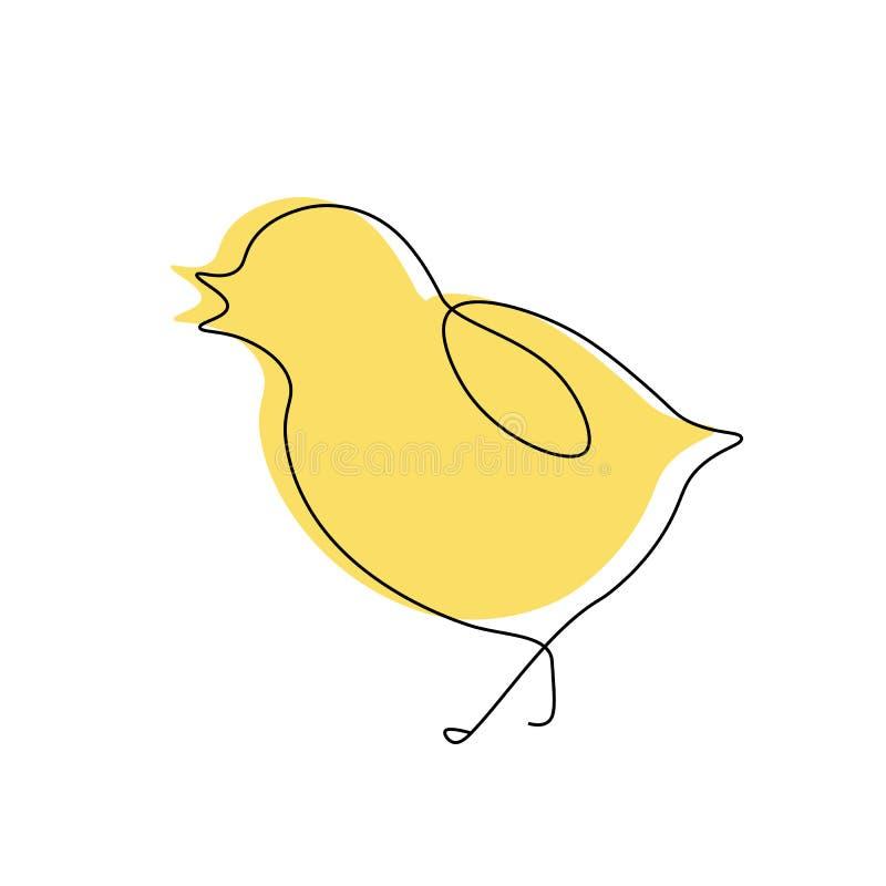 逗人喜爱的鸟小鸡一线凹道,传染媒介例证 向量例证