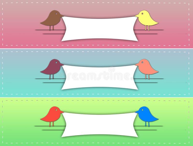 逗人喜爱的鸟横幅 免版税库存照片