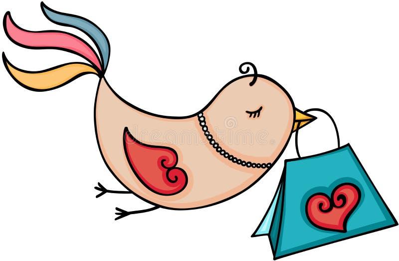 逗人喜爱的鸟运载的购物袋 库存例证
