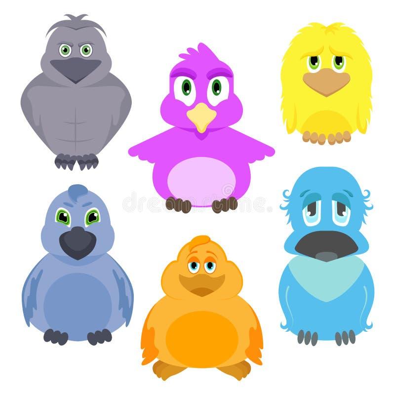逗人喜爱的鸟 动画片集合 向量例证