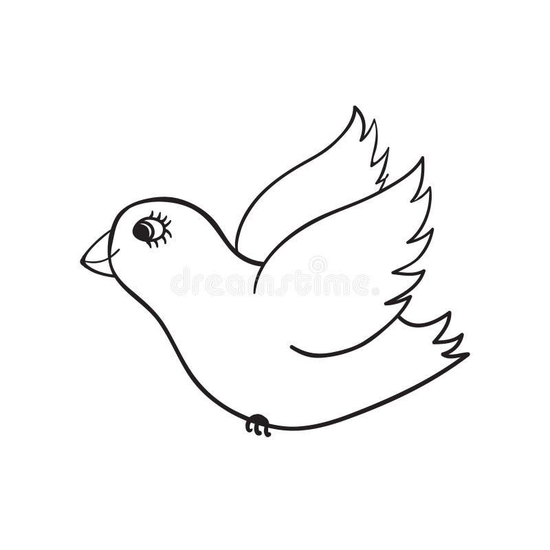 逗人喜爱的鸠的手拉的例证 滑稽的乱画 在白色隔绝的黑概述剪影 皇族释放例证