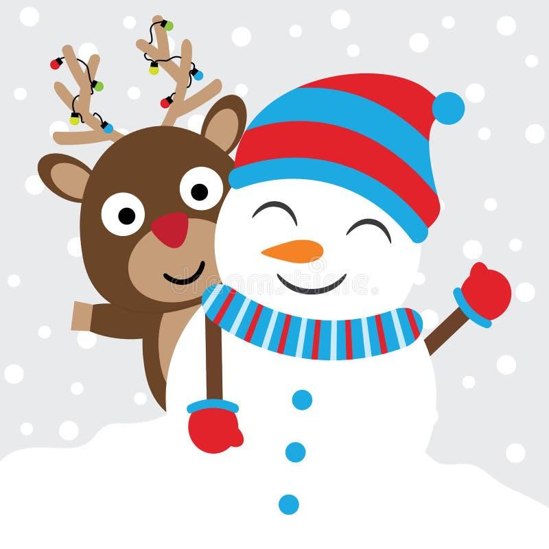 逗人喜爱的鹿和雪人导航在雪背景、Xmas明信片、贺卡和墙纸的动画片 免版税库存照片