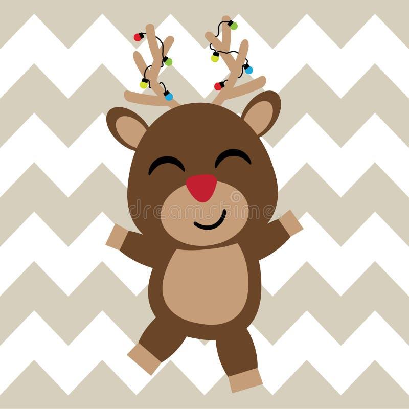逗人喜爱的鹿是愉快的在V形臂章背景动画片、Xmas明信片、墙纸和贺卡 皇族释放例证