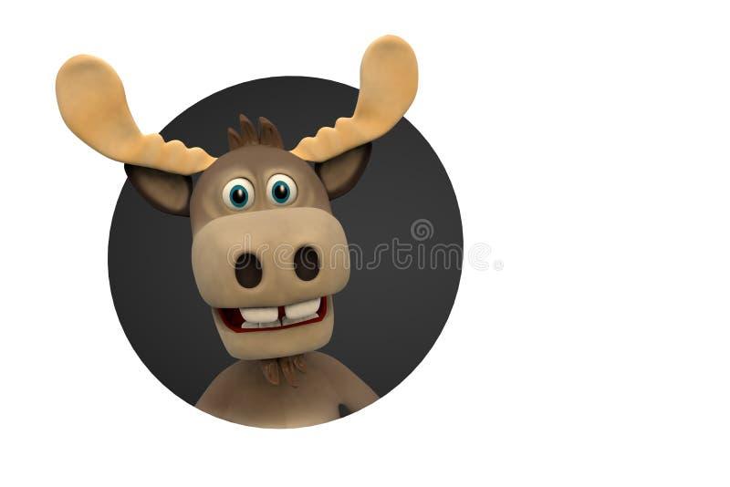 逗人喜爱的麋动画片动物动物园森林 向量例证