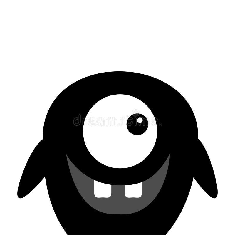 逗人喜爱的黑剪影妖怪面孔象 愉快的万圣节 动画片五颜六色的可怕滑稽的字符 一个白点,牙 滑稽的婴孩 库存例证