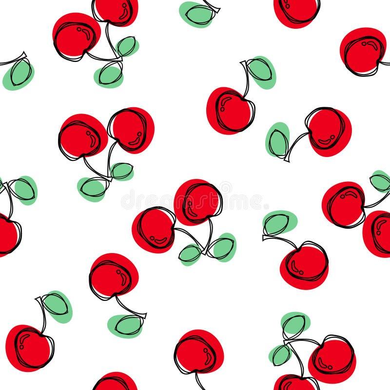 逗人喜爱的黑白色桃红色无缝的传染媒介样式背景例证用樱桃 库存例证