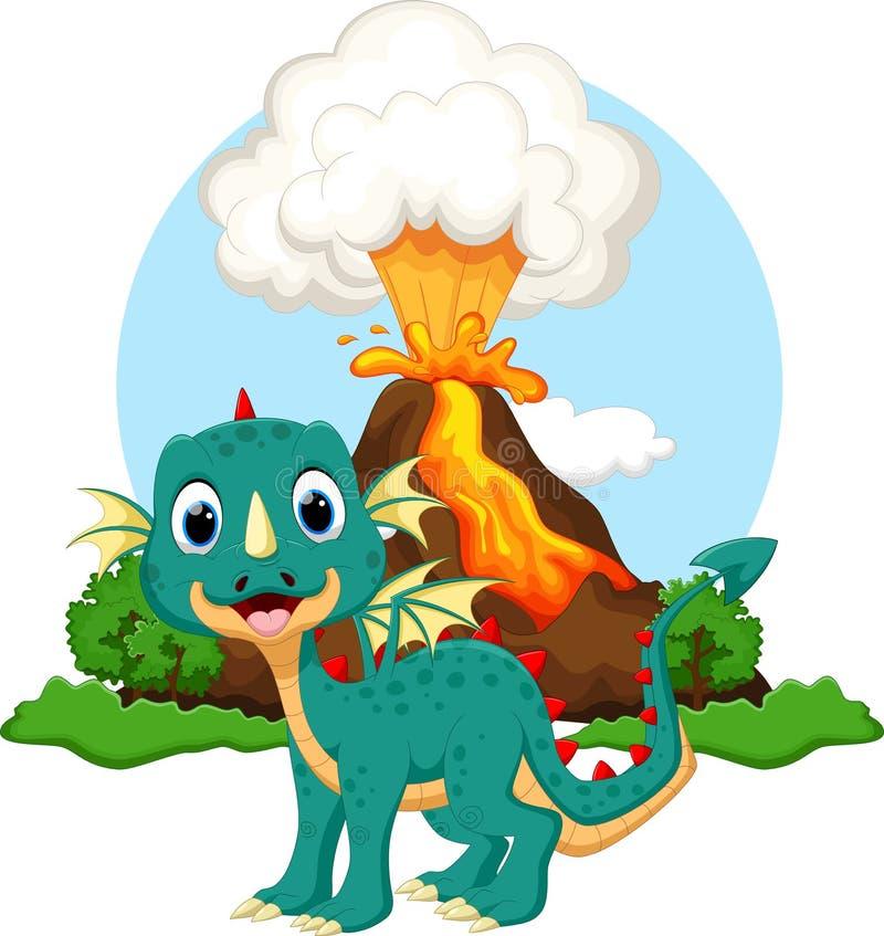 逗人喜爱的龙动画片有火山背景 向量例证