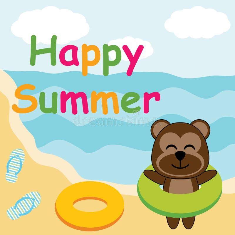 逗人喜爱的猴子带来在海滩动画片、夏天明信片、墙纸和贺卡的游泳圆环 库存例证