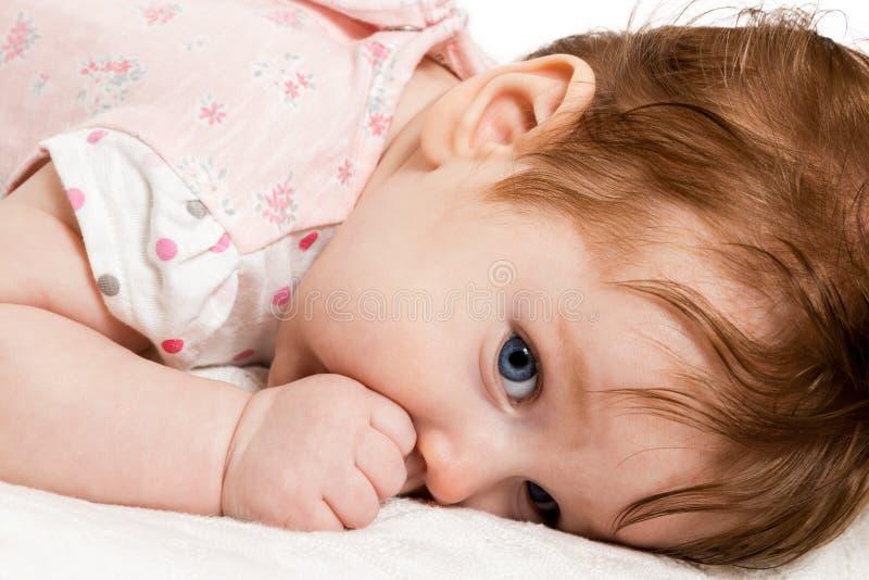 逗人喜爱的婴孩吮他的在床上的拇指 图库摄影